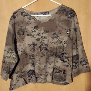 Olive green crop top  with bead embellishments